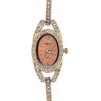 Prince London Rose Goldtone Crystal Set Metal Bracelet Strap Ladies Watch PI-7040