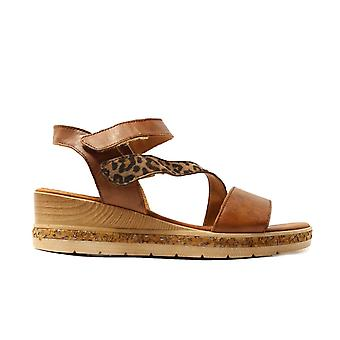 Remonte D3054-24 Tan/Leopard Print Leather Womens Wedge Sandals