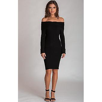 Black off the shoulder twist detail knit dress