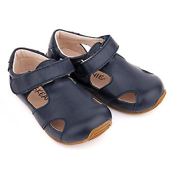 SKEANIE Toddler and Kids Leather Sunday Sandals in Navy Blue