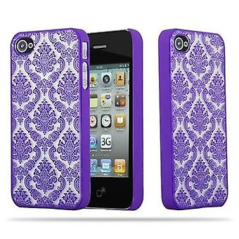 Apple iPhone 4 / iPhone 4S Custodia rigida in LILA di Cadorabo - Flowers Paisley Henna Design Protective Case – Phone Case Bumper Back Case Cover