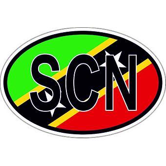 ملصقا البيضاوي العلم البيضاوي رمز البلد SCN سانت كيتس نيفيس