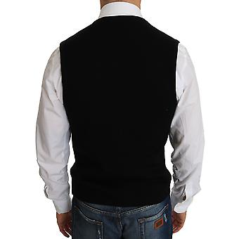 Dolce & Gabbana Black Cotton Dress Woven Waistcoat -- TSH2909936
