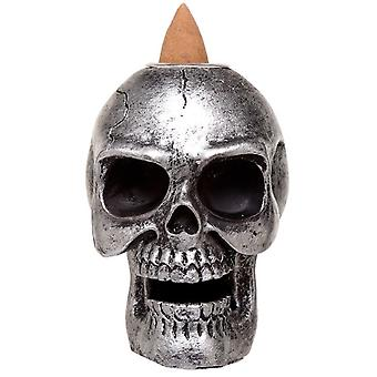 Gothic Homeware Silver Small Skull Backflow Incense Burner
