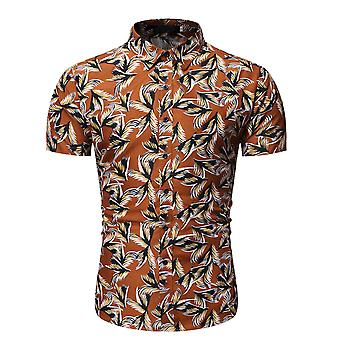 Allthemen Men's Feather Printed Point Collar Thin Short Shirt