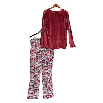 Cuddl Duds Women's Petite Pajama Set Ultra Plush Velvet Fleece Pink A342096