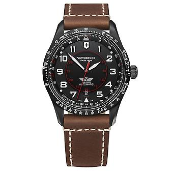 Victorinox Swiss Army Airboss Mechanical Black Dial Brown Leather Strap Men's Watch 241886