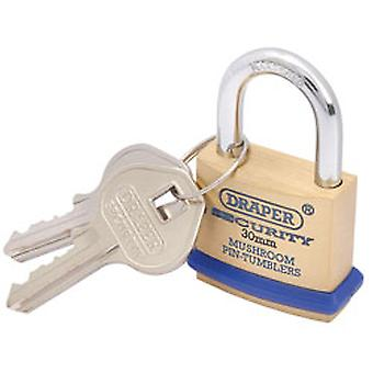 Draper 64160 30mm Solid Brass Padlock & 2 Keys - Hardened Steel Shackle & Bumper