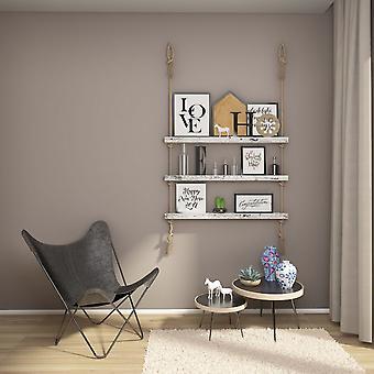 Halatli Regal weiße Farbe, Ecru Holz, Juta, L100xP9xA125 cm