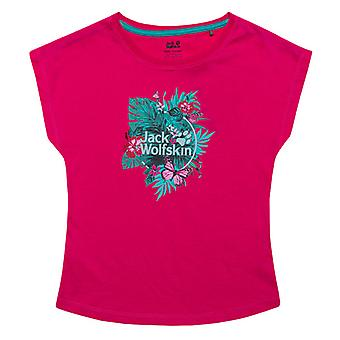 Girl's Jack Wolfskin Junior Tropical T-Shirt in Pink