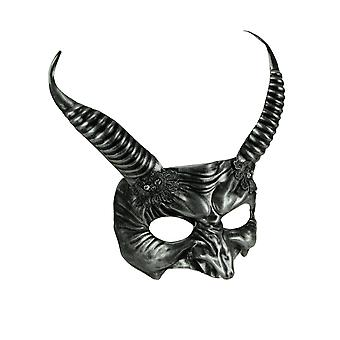 Metallic Silver Spiral Horned Demon Adult Halloween Costume Mask