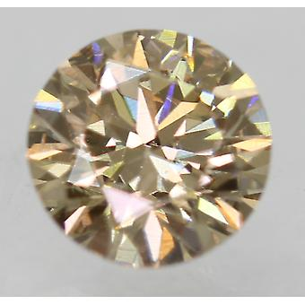 Cert 0.55 Ct Light Brown VVS1 Round Brilliant Enhanced Natural Diamond 5.17m 3EX