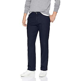 Essentials Men&s Relaxed-Fit Casual Stretch Khaki, Navy, 34W x 33L