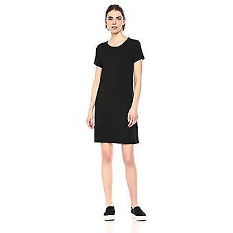 Essentials Women's Solid Short-Sleeve Scoopneck Swing Dress, Black, L