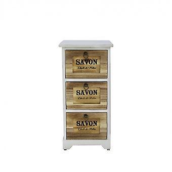 Rebecca Furniture Comfort 3 White Brown Leather Drawers Retro 63x30x30