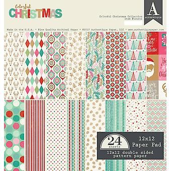 Authentique 12x12 Paper Pad Colorful Christmas