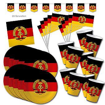 DDR sosialismi party set XL 51-osainen 10 vierasta Party Ossiparty Syntymäpäivä Sisustus Party Paketti