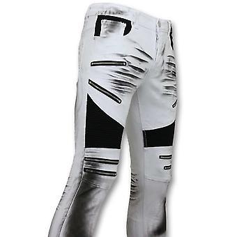 Fit Damaged Biker Jeans - Slim Fit Pants - White