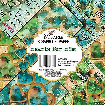 Decorer Hearts for Him 8x8 Inch Paper Pack