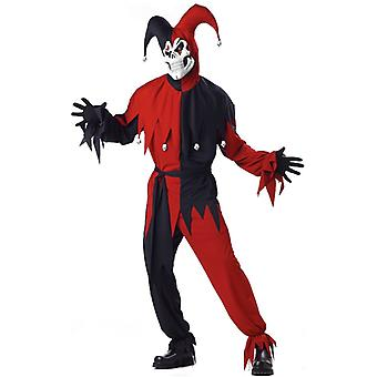 Evil Jester Mardi Gras Red Black Joker Horror Clown Halloween Men Costume
