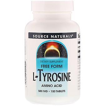Source Naturals, L-Tyrosine, 500 mg, 100 comprimés
