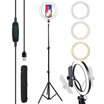 Selfie Flash LED Ring Light with 2.1M Tripod Stand Phone Camera Holder  - 210 cm