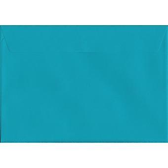 Peel/guarnizione blu caraibi C5/A5 buste blu colorato. Carta certificata FSC di lusso 120gsm. 162 x 229 mm. portafoglio stile busta.