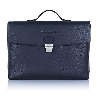 Midnight Blue Richmond Leather Flap Over Briefcase