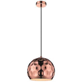 Éclairage de ressort - 1 pendentif léger de plafond de petit dôme noir, cuivre, E27