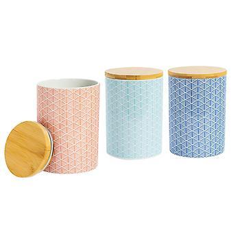 Nicola Spring 3 Piece Geometric Patterned Biscuit Barrel Set - Large Porcelain Kitchen Storage - 3 Colours - 14.5cm