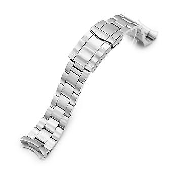 Strapcode watch bracelet 22mm super-o boyer 316l stainless steel watch band for seiko 5, brushed sub clasp