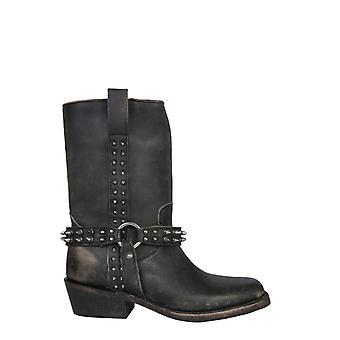 Ash Nelson01 Frauen's schwarze Leder Stiefeletten