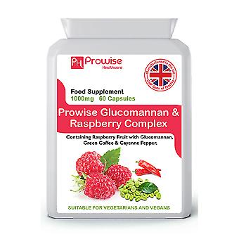 Glucomannan and Raspberry Advance Formulation Added with Green Coffee Bean, Cayenne Pepper, Caffeine, L-Tyrosine, L-Carnitine and Chromium Picolinate  | Suitable For Vegetarians & Vegans | Made In UK