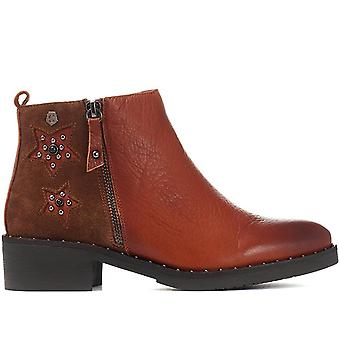 Carmela Womens Embellished Leather Ankle Boot