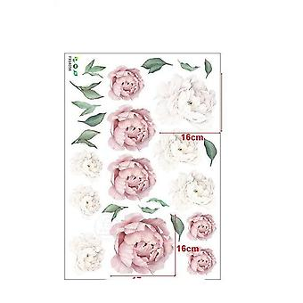 Rosa weiß Aquarell Pfingstrosen Blumen Wandaufkleber - Kinderzimmer Wohnzimmer