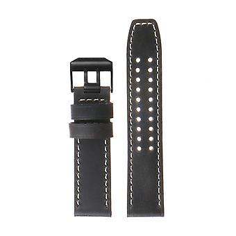 Strapsco dassari 23mm vintage läder klockarmband för luminox evo med matt svart spänne