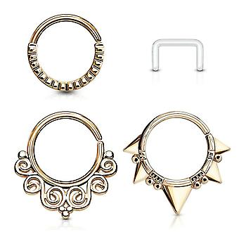 4 Pack circle bendable nose septum and ear cartilage hoops free clear retainer bj28023
