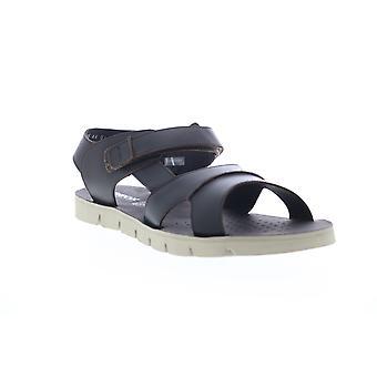 Geox U Glenn E Mens Black Leather Strap Sport Sandals Chaussures