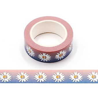 الفضة ثلاثية الأبعاد احباط ديزي زهرة الأزهار الشريط Washi