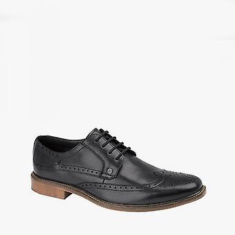 Lambretta Levi Mens Leather Lace Up Brogue Shoes Noir
