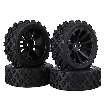 4x Black Cross Pattern Rubber Tyres + 10 Spoke Wheel Rims for RC1:10 On Road Car