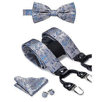 Lujo seda adulto hombres's Suspenders cuero metal braces hombres's boda fiesta arco