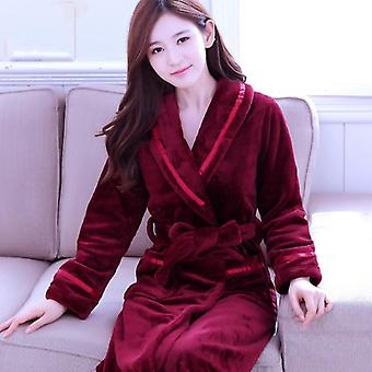 Winter Warm Coral Fleece Nightdress Sleepwear Female Pajamas Home Clothes