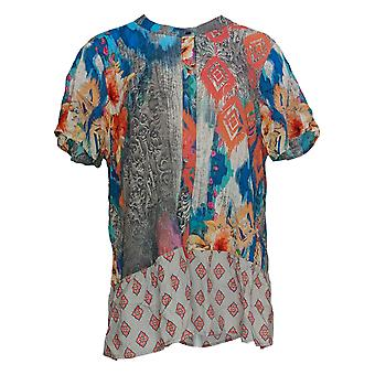 Tolani Women's Petite Top Printed Button Front Woven Tunic Pink A347423