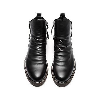 Big Size 39-47 Winter With Fur Boots, Leather Men's Winter Boots, Rubber Ankle