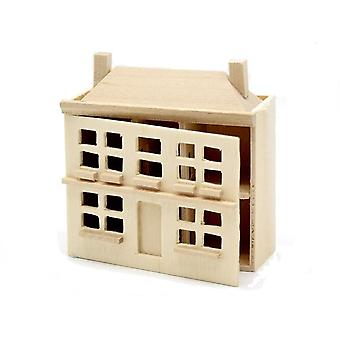 Γυμνό ξύλινο σπίτι κουκλών για ένα σπίτι κουκλών μικροσκοπικό ημιτελές παιχνίδι βρεφικών σταθμών