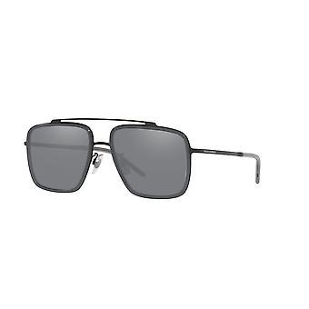 Dolce&Gabbana DG2220 11066G Matte Black-Transparent Grey/Light Grey Mirror Black Sunglasses