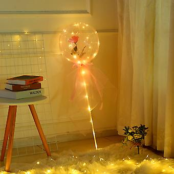 LED Luminous Balloon Rose Bouquet Transparent Ball Rose Valentines Day Gift Birthday Party Wedding Decoration Balloons