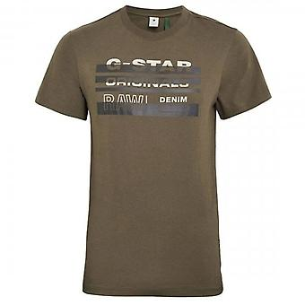 G-Star Raw Originals Stripe Logo T-Shirt Combat Green D19268 336