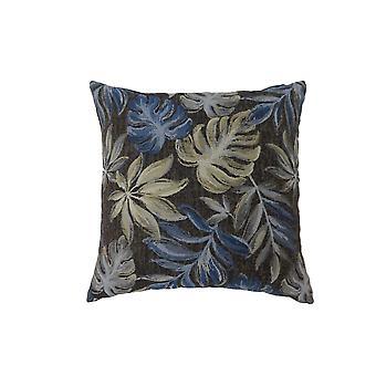 Zeitgenössische Stil Blatt entworfen Set von 2 Werfen Kissen, Marineblau